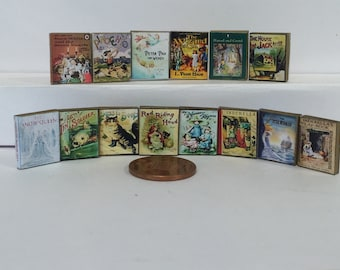 Dolls house miniature books, Fairy Tale set of 14 with real aged printed pages