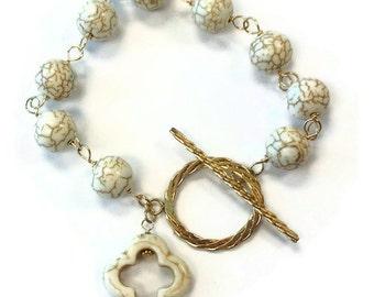 White Turquoise Bracelet Yellow Gold Jewelry Quatrefoil Jewellery Charm Natural Gemstone Handmade Graduation
