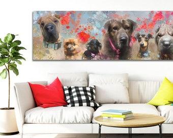 Custom painting on canvas, Custom dog portrait, Dog portrait custom, Big canvas portrait, Custom pet portrait, Personalized dog art