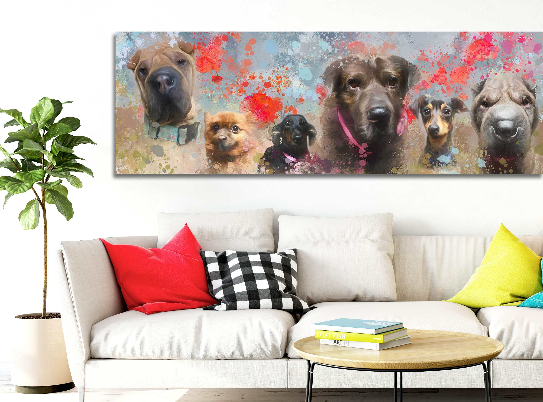 personnalis peinture sur toile portrait de chien sur. Black Bedroom Furniture Sets. Home Design Ideas