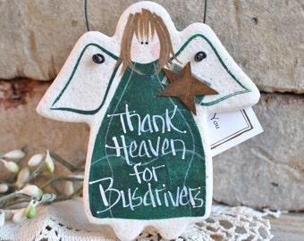 Busdriver Gift Idea / Busdriver Thank You / Back To School Hanging Salt Dough Xmas Ornament / Birthday Gift