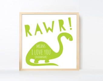 Lime Dinosaur Art Printable, Rawr Means I Love You Wall Art, Brontosaurus Wall Art, Boy Room Art, Dinosaur Printable, Nursery Boy, Square