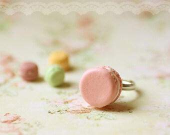 Dessert Jewelry - French Macaron Ring in Soft Pink - Gift Under 25