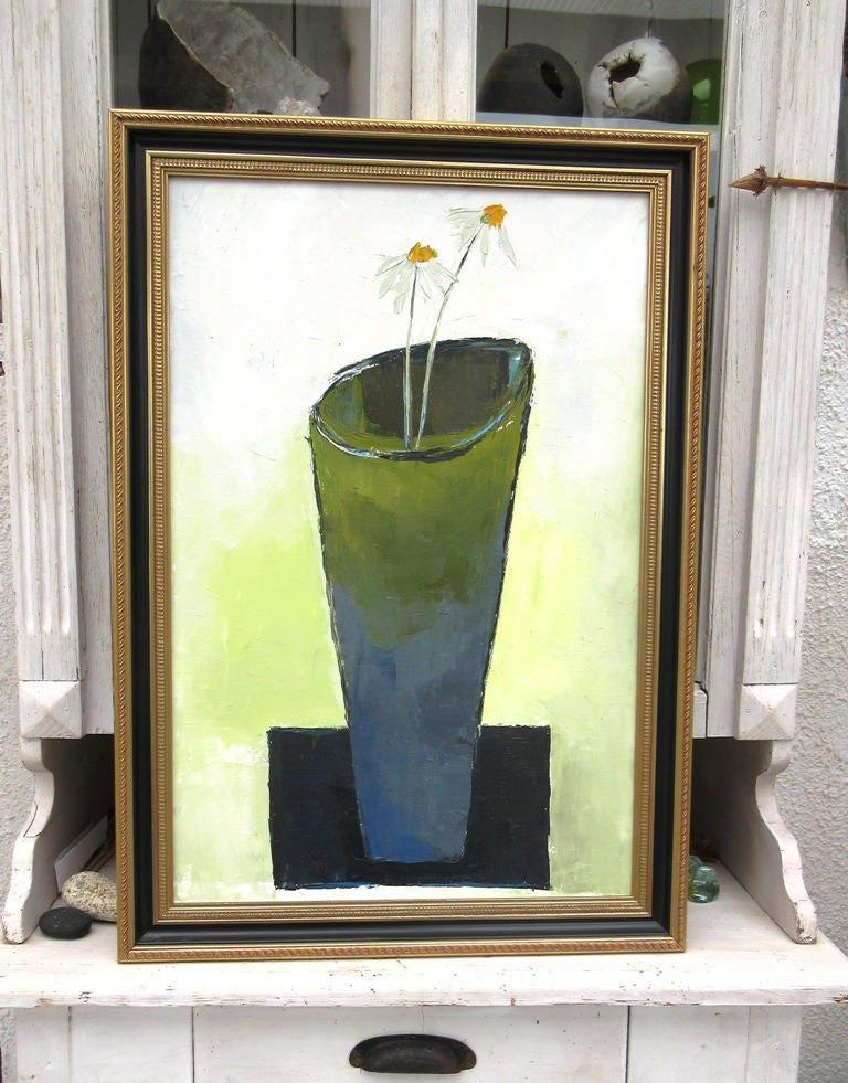 peinture florale huile au couteau avec cadre   rythmes