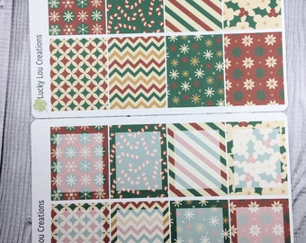 Set of 8 Full Daily Box Patterned Stickers designed for Erin Condren Vertical Life Planner - Traditional Holiday