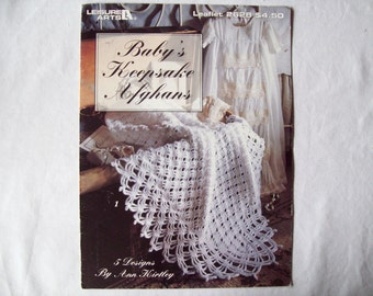 Baby's Keepsake Afghans, Crocheted Baby Blanket Pattern book, leisure arts 2628, booklet leaflet