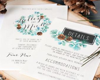 Rustic Pine - SAMPLE Rustic Wedding Invitation Suite - Wedding Invite SAMPLE - Pinecone Wedding Invitations - Wedding Suites - #wdi-146