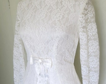 60s  wedding dress with bow and lace