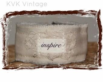 Fabric Cuff Bracelet - INSPIRE - Boho Jewelry - Boho Bracelet - Hippie Jewelry