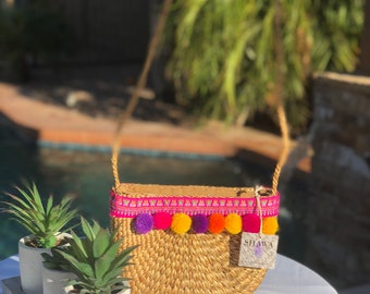 handwoven purse with shoulder strap