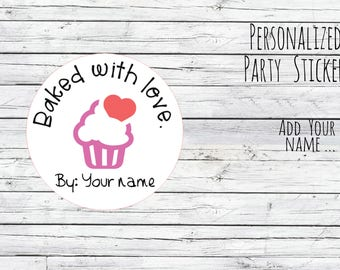 Personalized Food Labels, Bon Appetit Gift Stickers, Baked with Love Stickers, Favor Labels, Baked Good Stickers