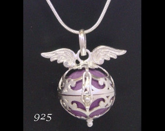 Harmony Ball, Bola Necklace, Angel Caller with Angel Wings on the 925 Sterling Silver Cage with Purple Chime Ball. Pregnancy Gift 532