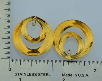 14K Yellow Gold Earring Jackets, Modern Swirl Design