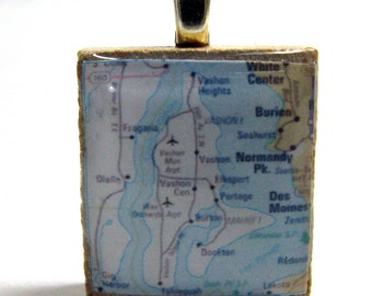 Vashon Island, Washington - 1962  vintage Scrabble tile map pendant