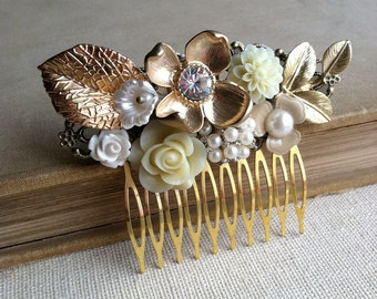 gold hair comb,rose gold comb, Gold bridal hair comb, Bridal hair comb, gold comb,gold headpiece,headpiece vintage hair accessory collage