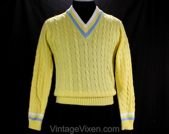 Men's Small Tennis Sweater - 1960s Yellow Preppie Cable Knit Pullover - V Neck Mens Preppy - Sky Blue & White - Puritan - Chest 39 - 50187