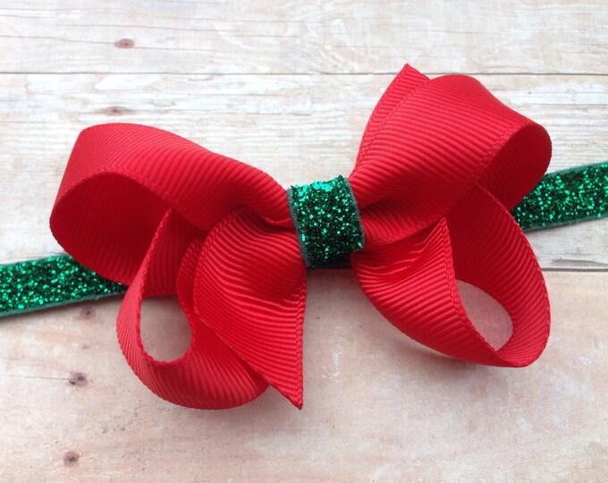 Red & green baby headband - red baby headband, red bow headband, Christmas headband, bow headband, baby headbands, newborn headband