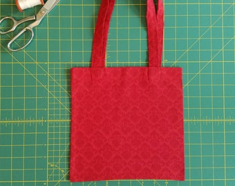 Red Damask Print Fat Quarter Tote Bag, Fabric Gift Bag, Small Cotton Tote
