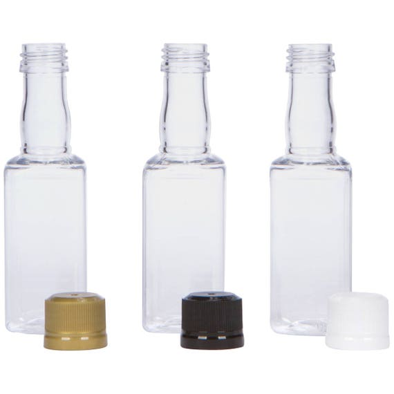 12 Mini SQUARE Liquor Bottles small 50ml mini empty plastic mini alcohol bottle shots + Caps (black, gold, white, silver)  Active