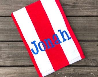 Boys Beach Towel-Monogrammed Beach Towel-Boys Monogram Beach Towel-Pool Towel-Red Stripped Towel-Personalized Beach Towel