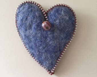 Needle Felted Heart Zipper Brooch, Purple heather with drop bead accent, Hat Pin, Lapel Pin, Ornament, Valentine's Day or Friendship Gift