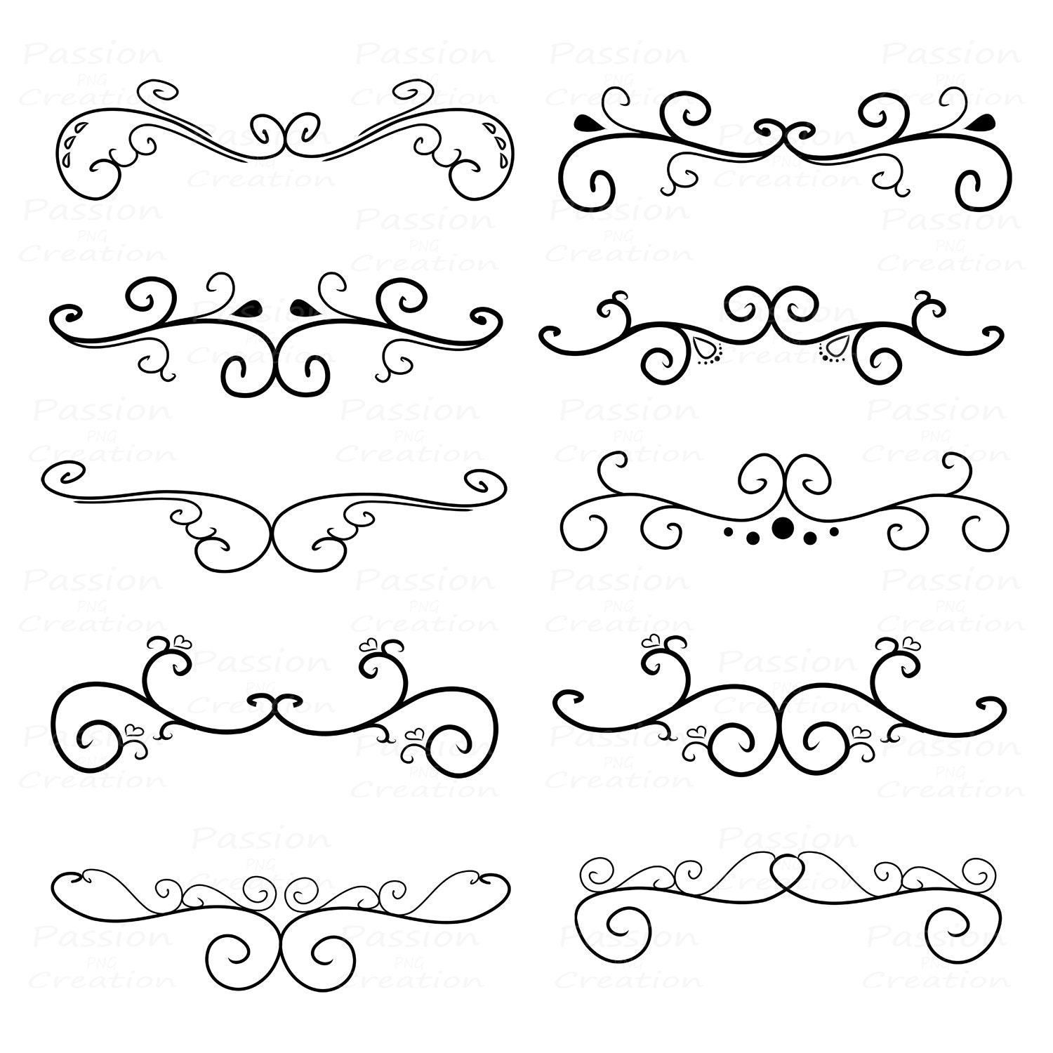 Flourish Swirls Border Calligraphy Decorative