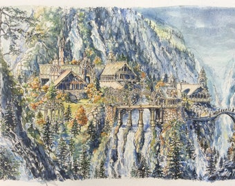 Rivendell lord of the rings print,lotr landscape,the fellowship art,the hobbit painting,middle earth watercolour,tolkien nursery artwork