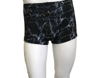 Men's Marble Print Booty Shorts, Boxer Brief, Festival Rave Clothing, Yoga Shorts