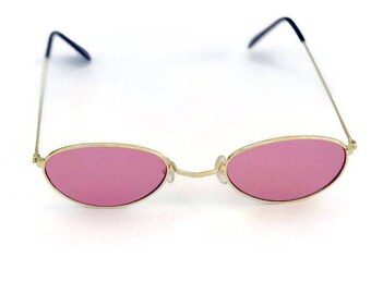 90's Sunglasses Oval Round Pink Lens Gold Wire Metal Vintage Sunglasses Pink
