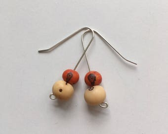 Brazilian acai seed earrings on sterling wire
