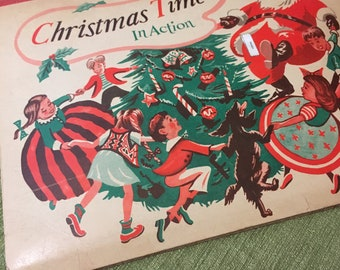 Christmas Time in Action - Pop up Book - Vintage - 1949