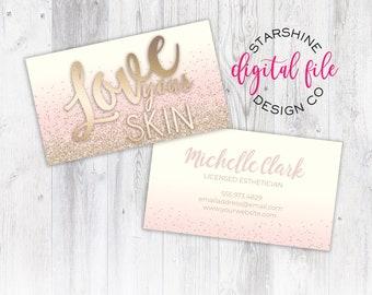 Esthetician card etsy licensed esthetician business card personalized business card design skincare company business card love colourmoves