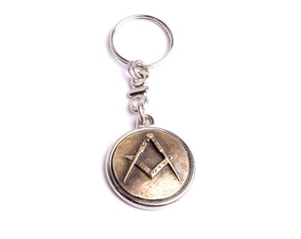 Masonic square and compass bronze treatment key holder
