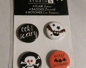 Halloween Flair buttons - adhesive backs scrapbook embellishment craft supplies, eek, skeleton, bats - studio g