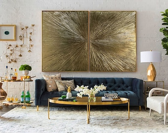 "Gold Leaf Art Abstract Painting Abstract Gold Painting diptych ""Rays"" Gold Leaf Textured Painting On Canvas Modern Art by Julia Kotenko"