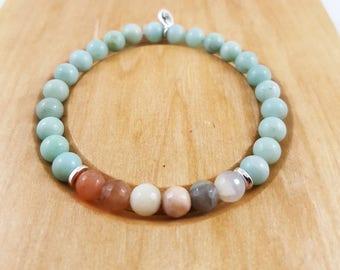 Trust Your Instincts - Amazonite and moonshine mala intention bracelet