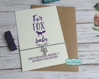 For FOX Sake Friendship Bracelet, Wish Bracelet, Funny Fox Gift, Fox Card, Tie-on Charm Bracelet, Wildlife Gift, Fox Card, Funny