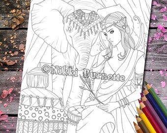 Coloring Page - Digital Stamp - Printable - Fantasy Art - Stamp - Adult Coloring Page - Elephant - Fairy - TANITH - by Nikki Burnette