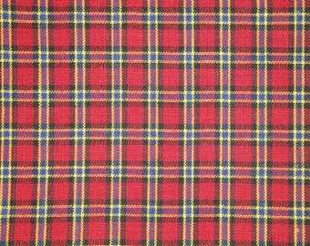 Homespun Material | Cotton Material | Quilt Material | Craft Material | Home Decor Material | Small Plaid Red Royal Yellow Black