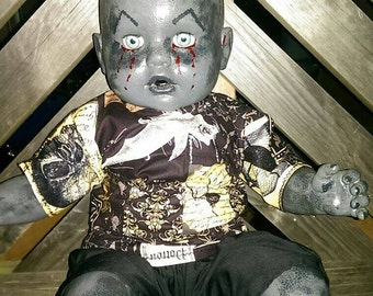 SALE! Ooak Demon Horror Doll with Nails in head and bloody piercing eyes. Gothic and creepy