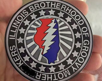 Illinois Brotherhood Sticker Groovy MFer Tribute Slap