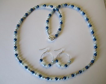 Shades of blue beaded necklace with matching pierced earrings - # 558
