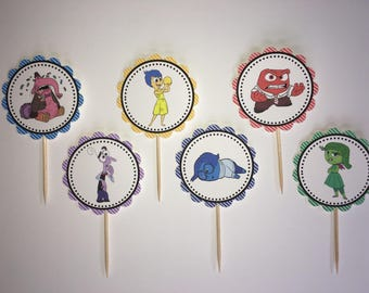 Inside Out -12 cupcake toppers