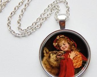 Red riding hood pendant - fairy tale jewelry - folktale - big bad wolf - photo pendant - art pendant