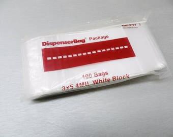 Ziplock Bags 3x5 4mil White Block Heavy Duty 3 X5 Reloc 4 Mil Zip Lock Bag 100 Pc (9E)