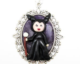 "Necklace Cabochon Kawaii Baroque ""Maleficent"" Fimo"