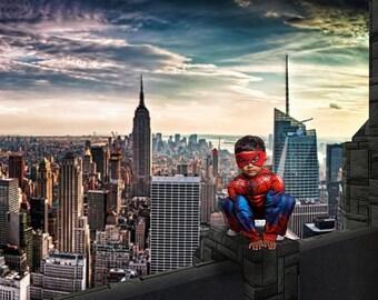 Spiderman Backdrop, Superhero Digital Background, Spiderman Cosplay Backdrop, New York City Rooftop, Superhero Backdrop, Photoshop Composite