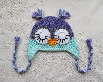 READY TO SHIP - 6 to 12 Month Size - Lavender and Mint Green Colored Crochet Owl Hat - Sleepy Eyes - Winter Hat or Photo Prop