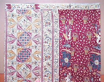 Beautiful old Indonesian batik tulis sarong dark red floral and geometric pattern gold outlines 112 cm height