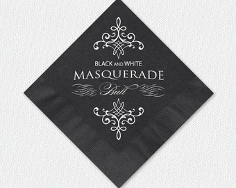 Masquerade Ball Cocktail Napkins, Black And White Masquerade Ball Beverage Napkins, Napkin And Imprint Color Options Available